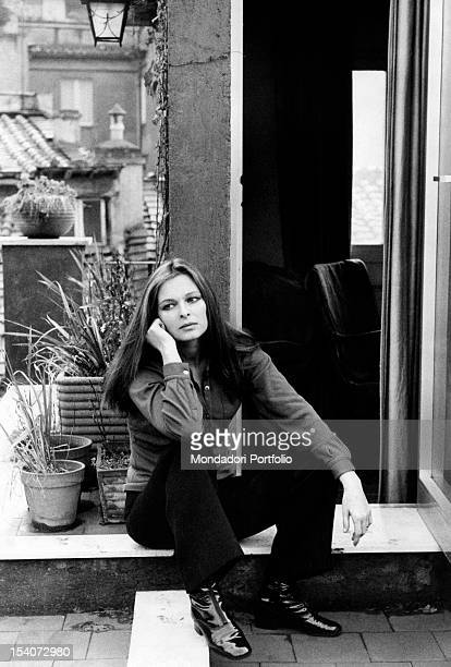 Portrait of the Italian actress Lucia Bose on the terrace of her house Rome January 1970