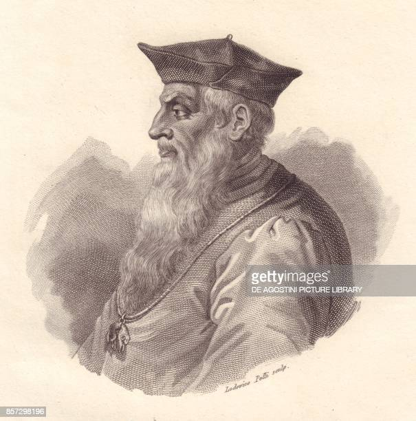 Portrait of the Italian Admiral Andrea Doria copper engraving by Ludovico Pelli from Iconografia italiana degli uomini e delle donne celebri...