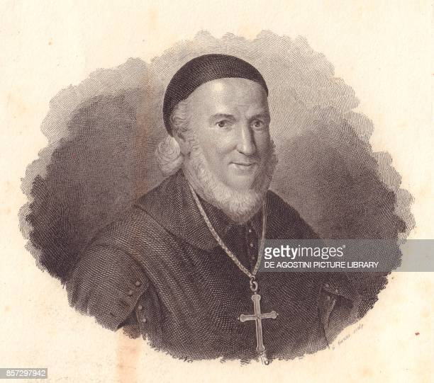Portrait of the Italian Bishop Adeodato Turchi copper engraving by G Guzzi from a painting by Francesco Vicira from Iconografia italiana degli uomini...