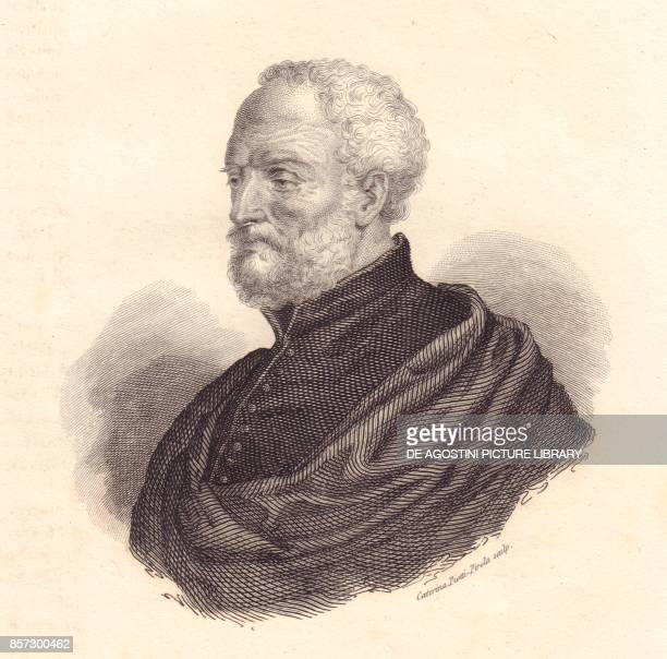 Portrait of the Italian diplomat and geographer Giovanni Battista Ramusio copper engraving from Iconografia italiana degli uomini e delle donne...