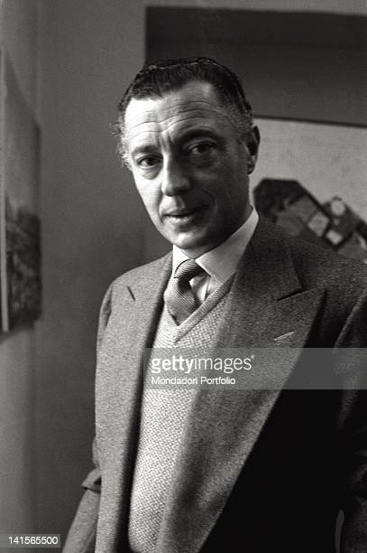 Portrait of the Italian entrepreneur and industrialist Gianni Agnelli in the presidency office of the International Labour Exhibition Turin 1961