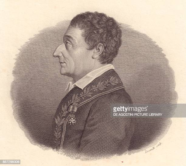 Portrait of the Italian mathematician and astronomer JosephLouis Lagrange or Giuseppe Lodovico Lagrangia copper engraving by Locatelli from a medal...