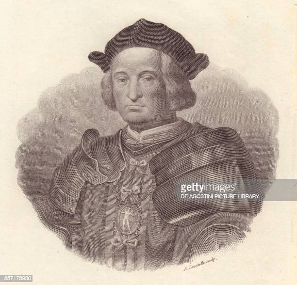 Portrait of the Italian military leader and politician Gian Giacomo Trivulzio copper engraving by A Locatelli from Iconografia italiana degli uomini...