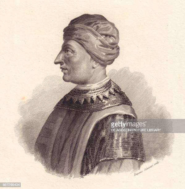 Portrait of the Italian military leader Can Francesco della Scala also known as Cangrande I copper engraving by Eugenio Silvestri from Iconografia...