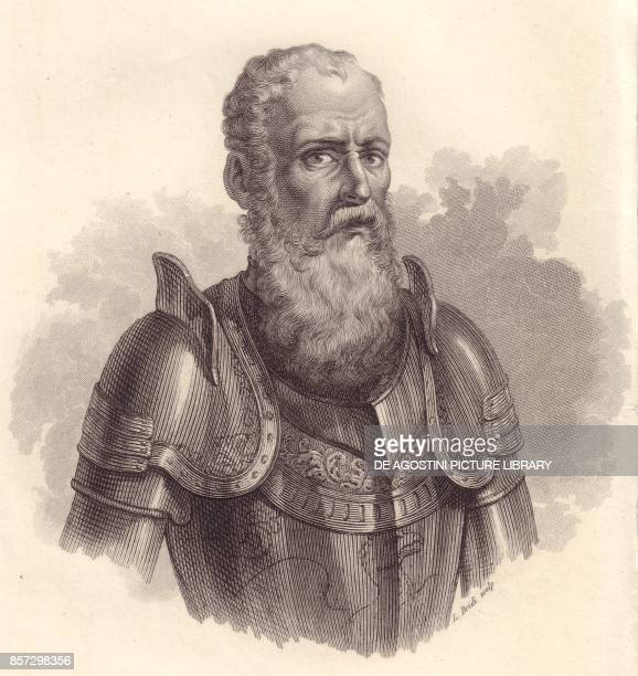 Portrait of the Italian military leader Ezzelino III da Romano or Ecelino da Romano copper engraving from Iconografia italiana degli uomini e delle...
