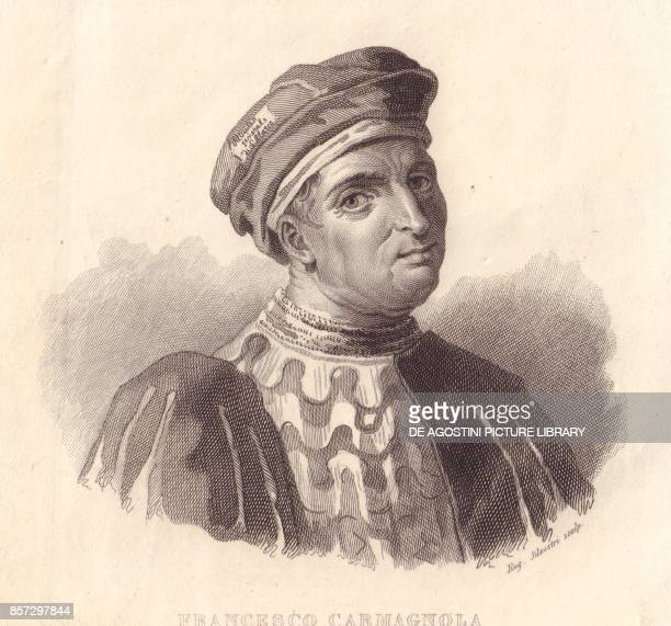 Portrait of the Italian military leader Francesco da Bussone also known as Carmagnola copper engraving by E Silvestri from a painting from...