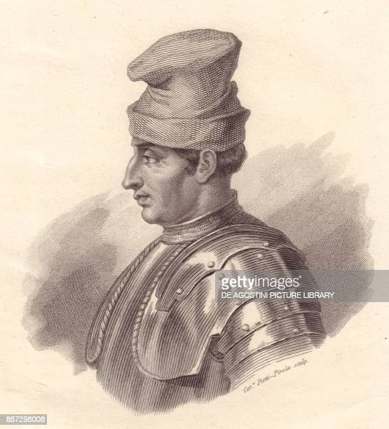 Portrait of the Italian military leader Niccolo Fortebraccio also known as della Stella copper engraving by Caterina PiottiPirola from Iconografia...