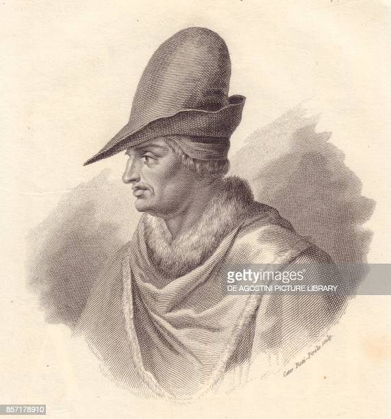 Portrait of the Italian military leader Uguccione della Faggiola copper engraving by Caterina PiottiPirola from Iconografia italiana degli uomini e...
