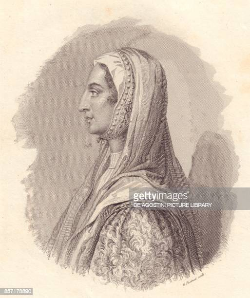 Portrait of the Italian noblewoman Beatrice Lascaris di Tenda copper engraving by G Fusinati from the portrait published by Antonio Campo from...
