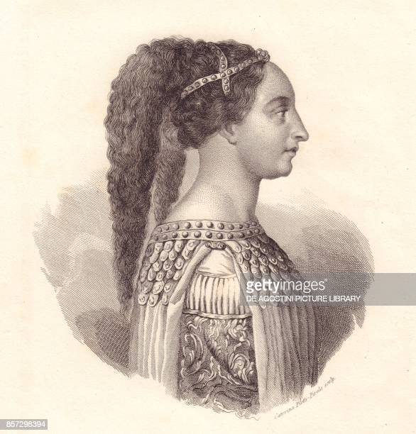 Portrait of the Italian noblewoman Isotta degli Atti copper engraving by Caterina PiottiPirola from Iconografia italiana degli uomini e delle donne...