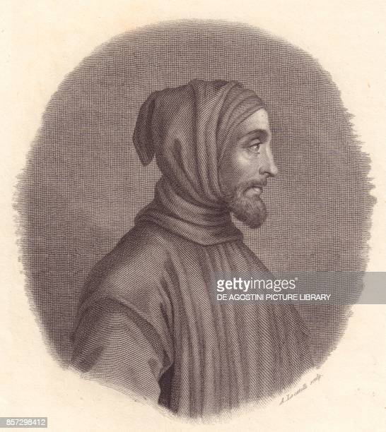 Portrait of the Italian painter Cimabue copper engraving by A Locatelli from a portrait by Simone Senese from Iconografia italiana degli uomini e...