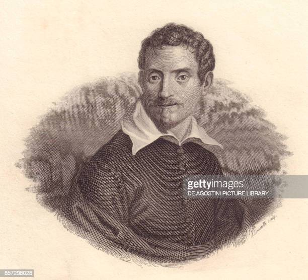 Portrait of the Italian painter Domenico Zampieri also known as Domenichino copper engraving by A Locatelli from Iconografia italiana degli uomini e...