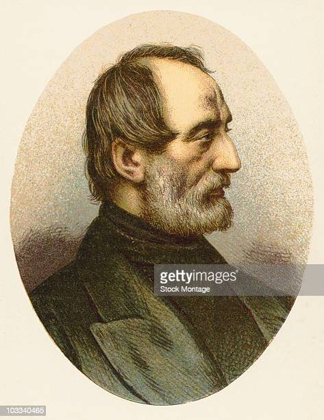 Portrait of the Italian patriot and politician Giuseppe Mazzini He participated in the Italian revolution of 1848 and was a member of the triumvirate...