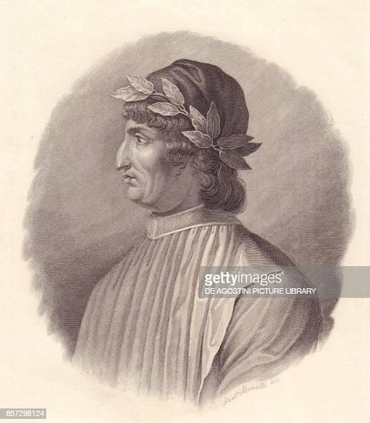 Portrait of the Italian poet and humanist Angelo Ambrogini also known as Poliziano copper engraving by G Bonatti from Iconografia italiana degli...