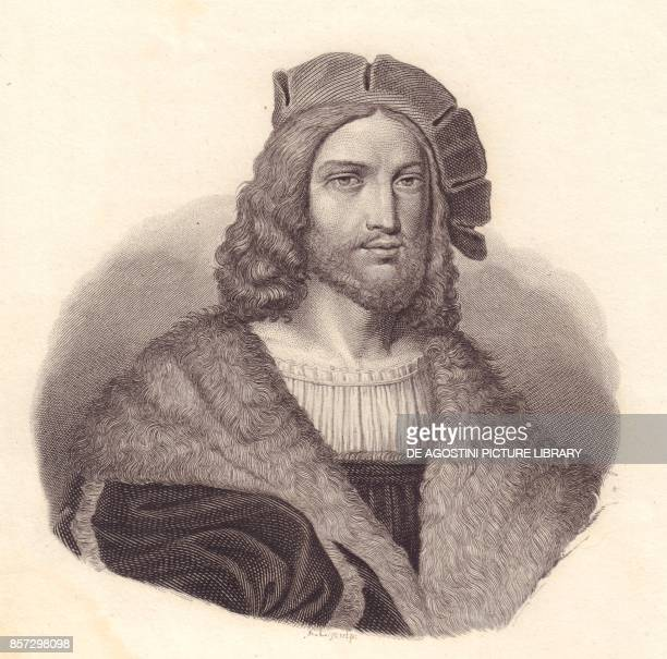 Portrait of the Italian poet Antonio Tebaldeo copper engraving from the painting by Raphael from Iconografia italiana degli uomini e delle donne...