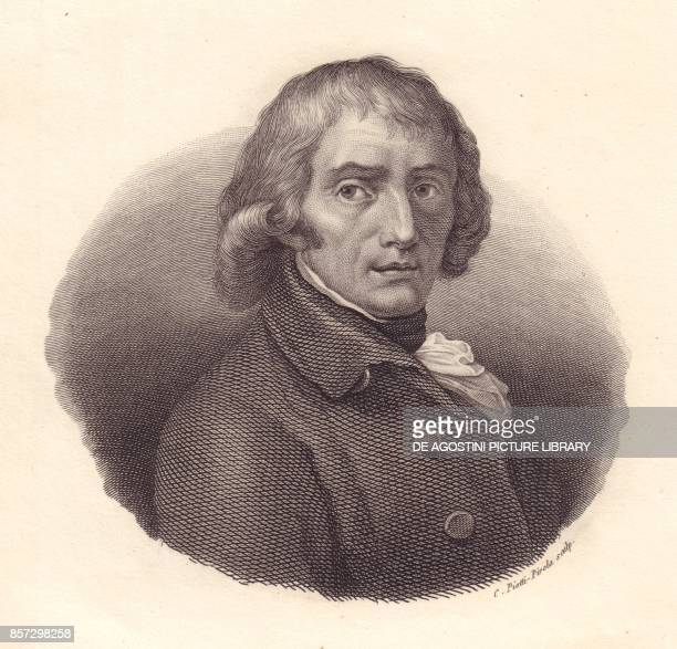 Portrait of the Italian poet Giuseppe Parini copper engraving by Piotti from a drawing by Andrea Appiani from Iconografia italiana degli uomini e...