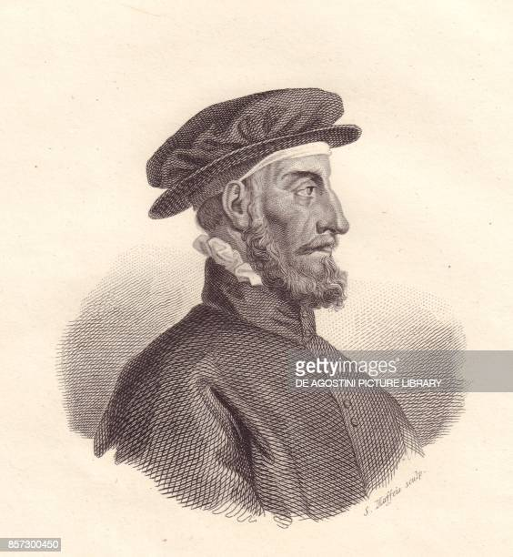 Portrait of the Italian publisher and printer Paolo Manuzio copper engraving by S Maffeis from Iconografia italiana degli uomini e delle donne...