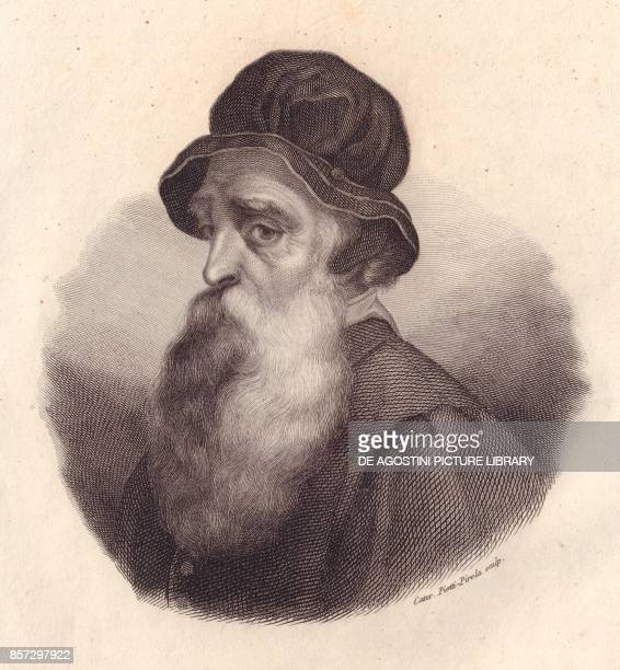 Portrait of the Italian sculptor and goldsmith Benvenuto Cellini copper engraving by Caterina PiottiPirola from a painting by Giorgio Vasari from...