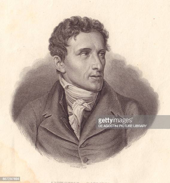Portrait of the Italian sculptor Antonio Canova copper engraving by A Locatelli from a painting by Giuseppe Bossi from Iconografia italiana degli...