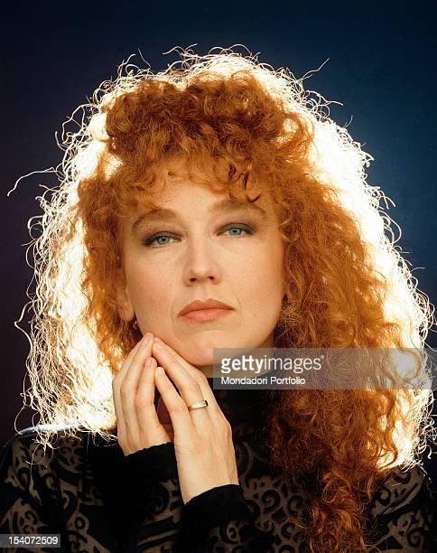 Portrait of the Italian singer Fiorella Mannoia 1994