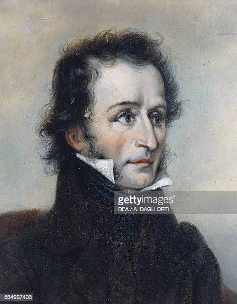 Portrait of the Italian violinist and composer Niccolo Paganini painting Detail