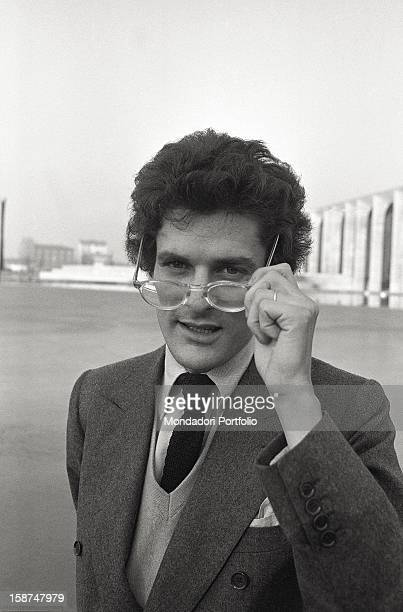 Portrait of the Italian writer Alain Elkann with eyeglasses Segrate 1981