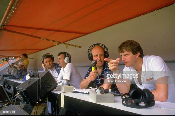 Portrait of the ITV commentary team Brian Moore and Mick Channon during the England Summer tour Mandatory Credit David Cannon/Allsport