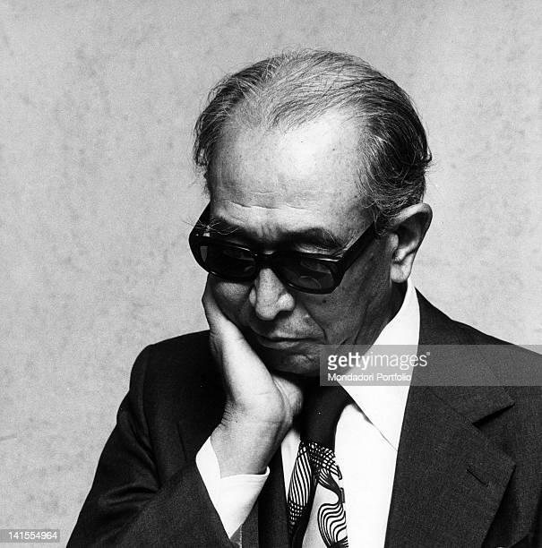 Portrait of the Japanese director Akira Kurosawa in Milan Milan 1976