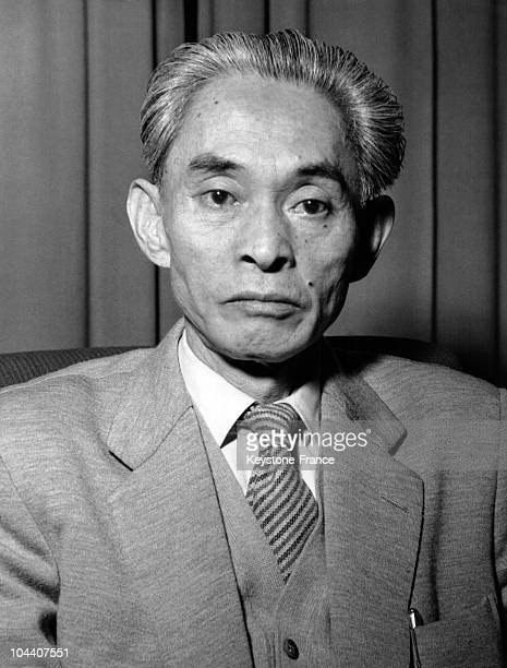 Portrait of the Japanese writer Yasunari KAWABATA at the age of 69 years old He was the first Japanese writer to receive the Nobel Litterature Prize...