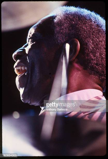 Portrait of the jazz drummer Art Blakey in performance at an unidentified venue New York 1984