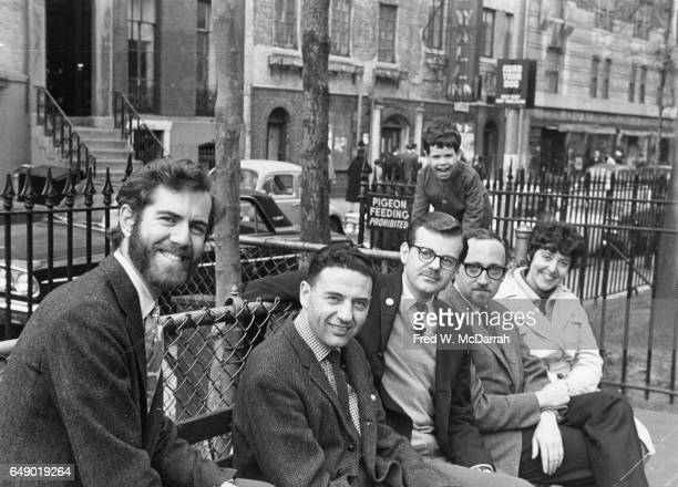 Portrait of the judges for the 1966 Village Voice's annual OBIE Awards as they pose in Christopher Park New York New York May 8 1966 Pictured are...