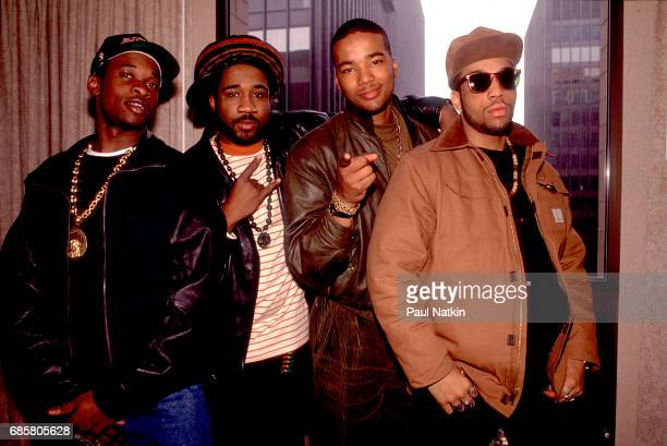 Portrait of the Jungle Brothers at the Hyatt Hotel in Chicago Illinois February 5 1990