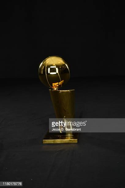 A portrait of the Larry O'Brien Trophy after the game of the Toronto Raptors against the Golden State Warriors in Game Six of the 2019 NBA Finals on...