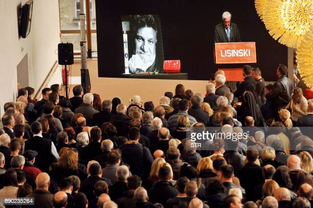 A portrait of the late Croatian general Slobodan Praljak is displayed at a commemoration ceremony honouring him in Zagreb on December 11 following...