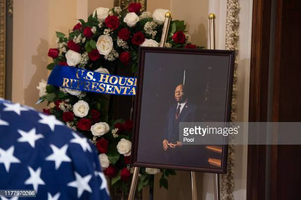 A portrait of the late Rep Elijah Cummings sits nearby as his remains lie in state outside the House Chamber of the US Capitol October 24 2019 in...