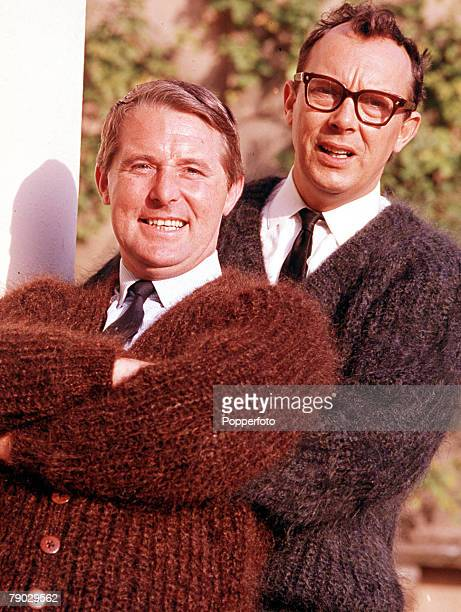 Portrait of the legendary British comedy duo Morecombe and Wise both smiling at the camera
