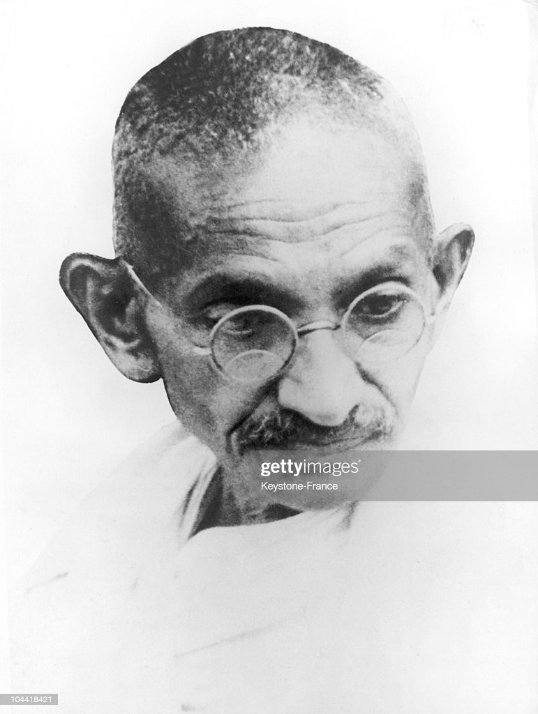 A portrait of the Mahatma GANDHI in 1928.