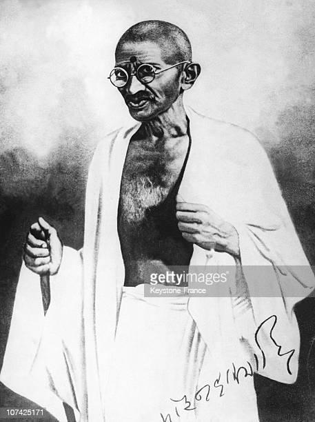 Portrait Of The Mahatma Gandhi In India
