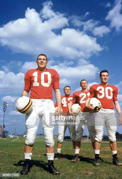 Portrait of the Maryland Terrapins offense LR Quarterback Frank Tamburello fullback Tom Selep right halfback Ed Vereb and left halfback Howie Dare...