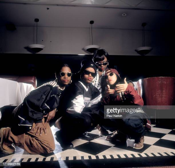Portrait of the members of American Hip-Hop and R&B group Xscape as they pose together at the Meridian Hotel, Chicago, Illinois, November 13, 1993....