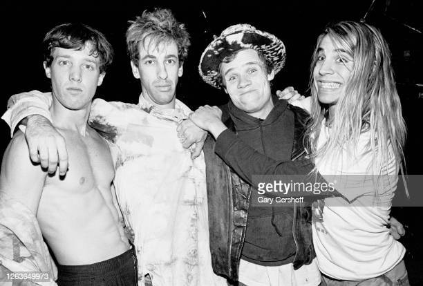 Portrait of the members of American Rock group Red Hot Chili Peppers as they pose together before a sold-out performance at the Ritz, New York, New...