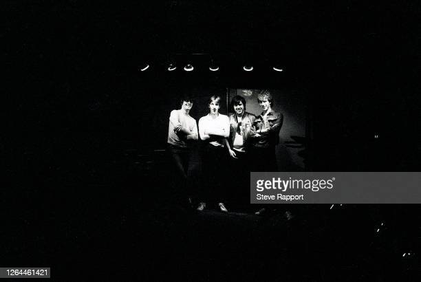 Portrait of the members of Rock group Stiff Little Fingers, Smithfield, London, 9/23/1982. Pictured are, from left, Jake Burns, Dolphin Taylor, Henry...