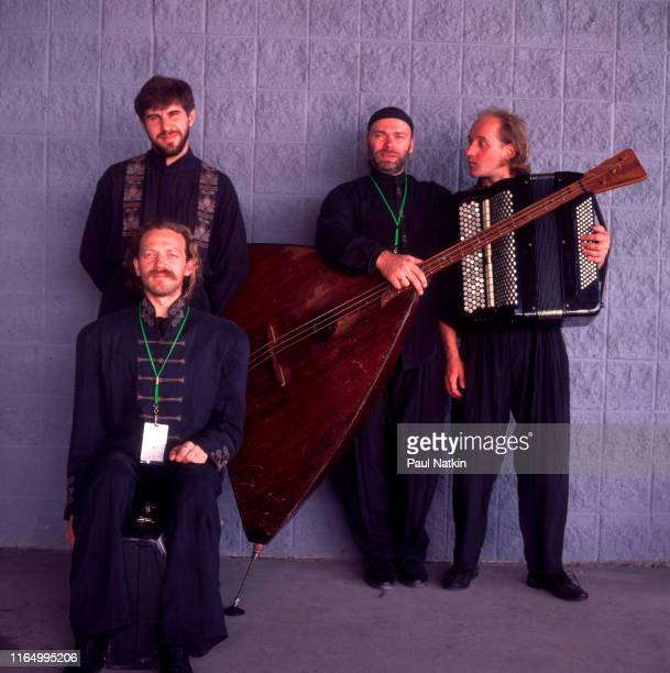 Portrait of the members of Russian Classical and Folk group the Terem Quartet as they pose backstage at the World Music Theater Tinley Park Illinois...