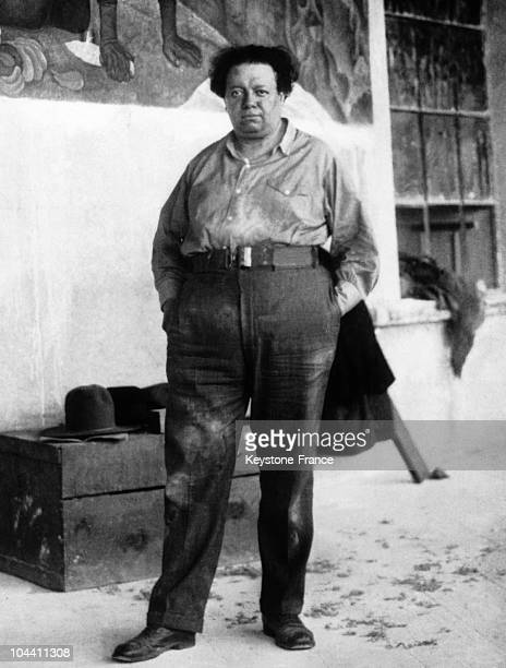 A portrait of the Mexican painter Diego RIVERA famous for having made a fresco for the ROCKEFELLER family in New York representing LENIN