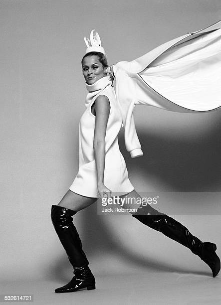 Portrait of the model Lauren Hutton in knee-high boots, New York, late 1960s or early 1970s.
