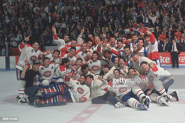 Portrait of the Montreal Canadiens hockey team as they pose on the after defeating the Los Angeles Kings in the Stanley Cup finals, Montreal, Quebec,...