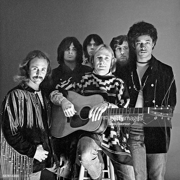 Portrait of the music group Crosby Stills Nash and Young early 1970s Pictured are from left David Crosby Dallas Taylor Neil Young Stephen Stills...