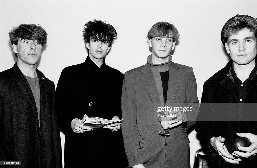 Portrait of the music group Echo and the Bunnymen backstage at Park West auditorium, Chicago, Illinois, October 12, 1981. Pictured are, from left, Will Sergeant, Ian McCulloch, Pete de Freitas (1961 - 1989), and Les Pattinson.