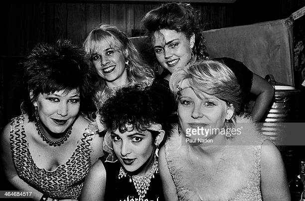Portrait of the music group the GoGo's as they pose backstage at an unspecified venue Chicago Illinois July 30 1981 Pictured are from left Kathy...