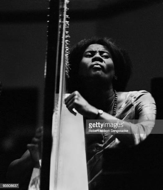 Portrait of the musician Alice Coltrane performing during a concert at Fisk University Nashville TN 1971